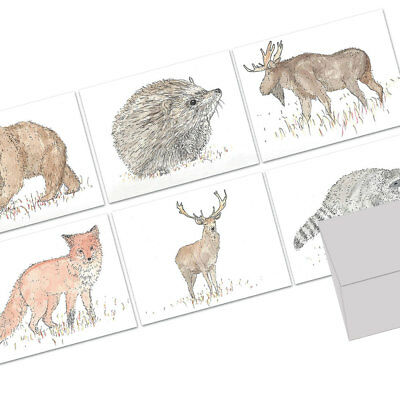 72 Note Cards - Forest Animals - 6 Designs - Gray Envs](Halloween Thank You Notes)