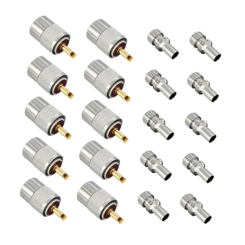 10X PL259 Solder Connector Plug With Reducer for RG8X Coaxial Coax Cable Silver