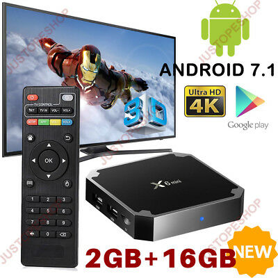 X6 Mini 2gb+16gb Android 7.1 Tv Box Smart Hd Network Media Player Quad Core Uk
