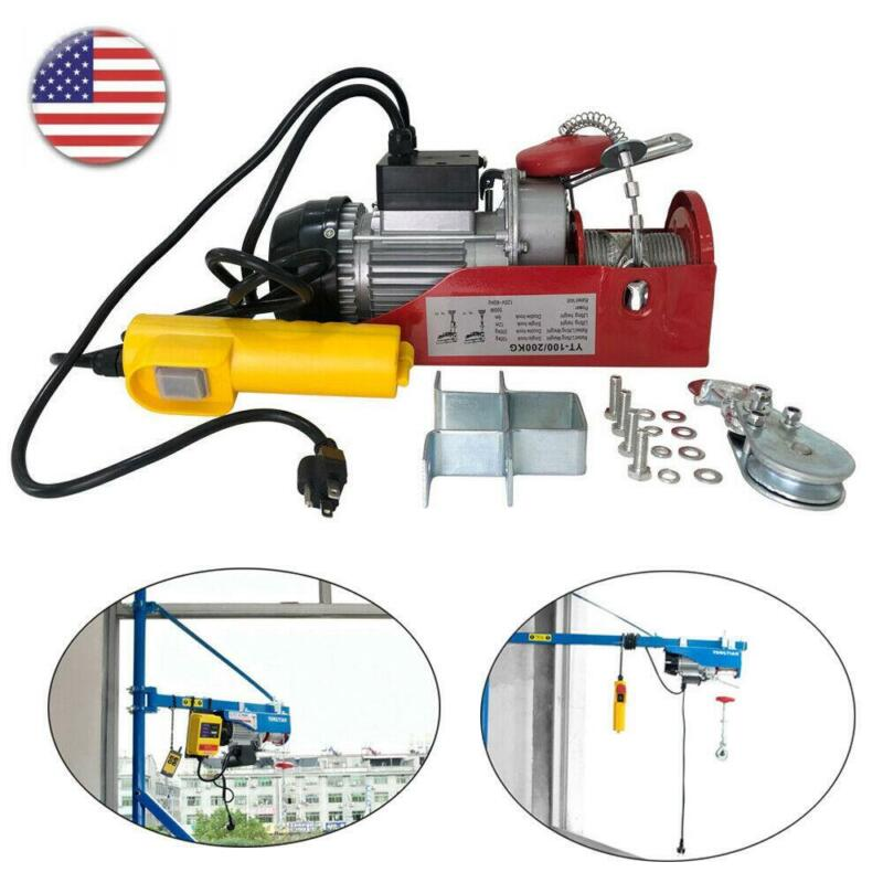 440 lbs Electric Hoist Winch Lifting Engine Crane Cable Overhead Lift w/ Remote