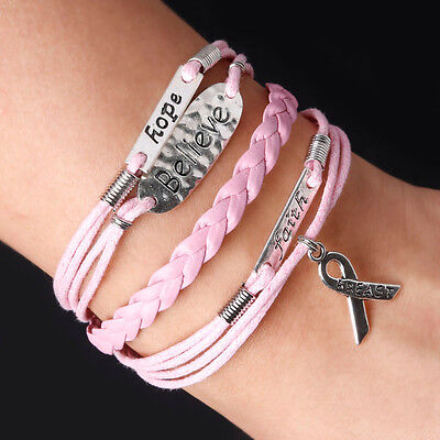 Breast Cancer Pink Ribbon Charm Bracelet Charity Donation 7