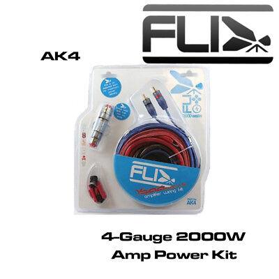 FLI AK4 - Complete 4 AWG Amplifier Wiring Kit Amp Installation Kit Power Kit Power Amp Installation Kit