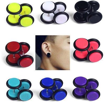 16x Screw Fake Cheater Acrylic Earring Stud Barbell Ear Plug Earlet Gauges -