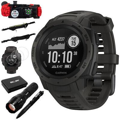 Garmin Instinct Rugged Outdoor Watch w/ GPS, Graphite + Accessories Bundle