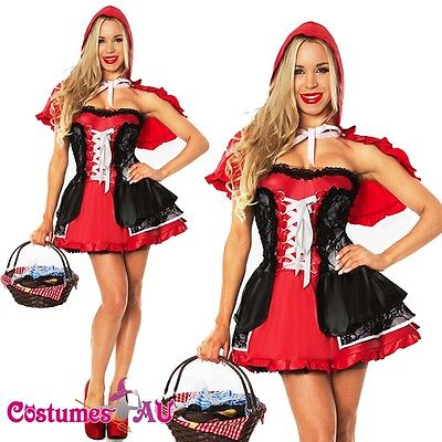 Ladies Little Red Riding Hood Costume Fancy Dress Halloween Hens Party Outfit ()