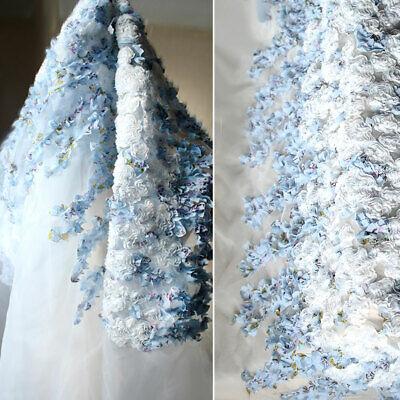3D Blumen Braut Abendkleid Chiffon Spitze Stoff Hochzeit Kleid Kostüm DIY - Chiffon Spitze Kostüm