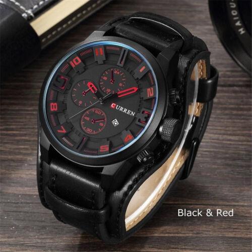 Fashion Curren Mens Date Stainless Steel Leather Analog Quartz Sport Wrist Watch