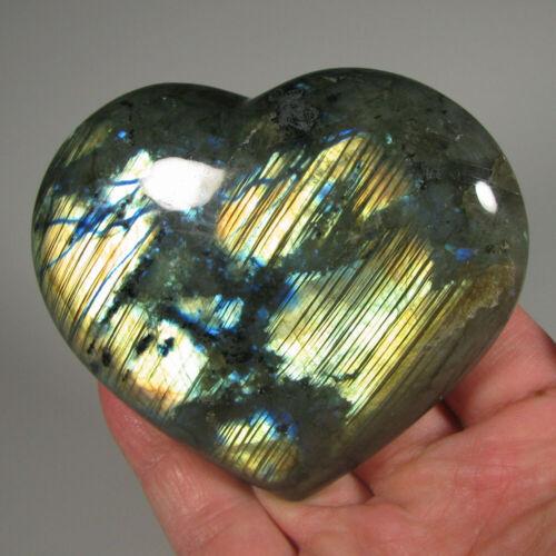 "3.5"" Polished LABRADORITE HEART Palm Stone Healing Reiki - Madagascar"