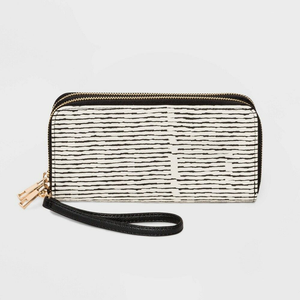 Women's Striped Classic Double Zip Wristlet – A New Day Black/White Clothing, Shoes & Accessories