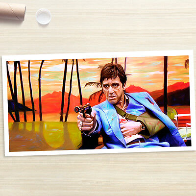 SCARFACE Al Pacino with gun dvd painting CANVAS ART PRINT (Rolled)