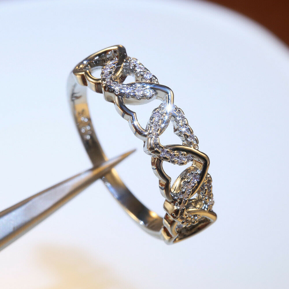 Jewellery - Women Fashion 925 Silver Wedding Rings White Sapphire Jewelry Size 6-10