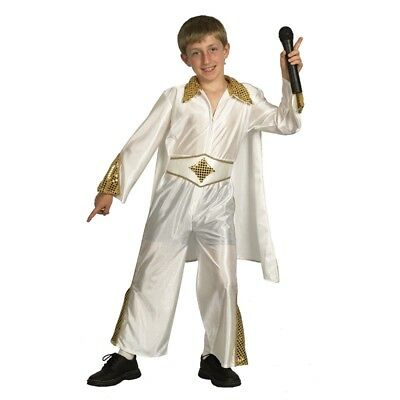 Large White Boys Rock Star Costume - Fancy Dress King Pop Outfit Child](Rock Star Outfit)