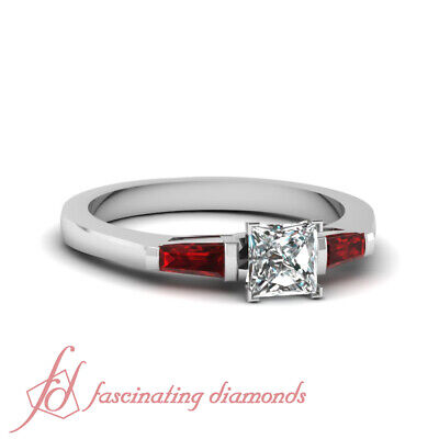 1 Ct Three Stone Ruby Baguette Engagement Rings With Princess Cut Diamond GIA