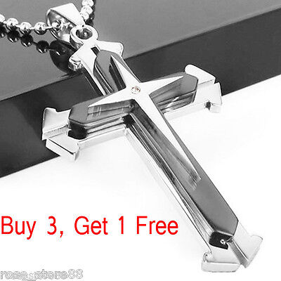 New Gift Unisex's Men Black Silver Stainless Steel Cross Pendant Necklace Chain