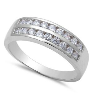 Men 39 S Round Cubic Zirconia Engagement 925 Sterling Silver Ring Sizes 8 12