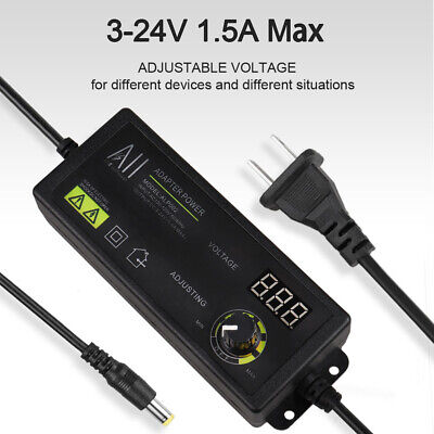 Adjustable Voltage Power Supply Adapter Ac To Dc 3-24v Switch W Led Display Us