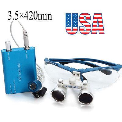 Blue Dental Loupes 3.5x 420mm Surgical Binocular Optical Glass Head Light Lamp