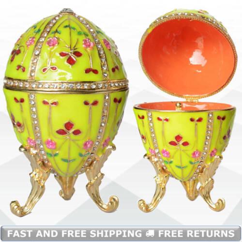 Royal Faberge Egg Shaped Vintage Jewelry Trinket Box Enameled Bejeweled Crystals