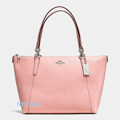New Coach F35808 Ava Tote In Crossgrain Leather Blush Pink Nwt