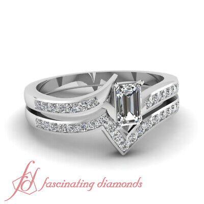 Wedding Rings Channel Set 3/4 TCW. Emerald Cut Diamond D-Color GIA Certified