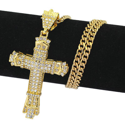 Iced Out Gold Cross Chain Crucifix Necklace Pendant Jesus Religious  Iced Out Jesus Pendant