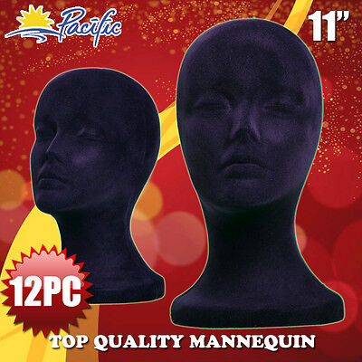 12pcs 11 Styrofoam Foam Black Velvet Mannequin Manikin Head Display Wig Hat