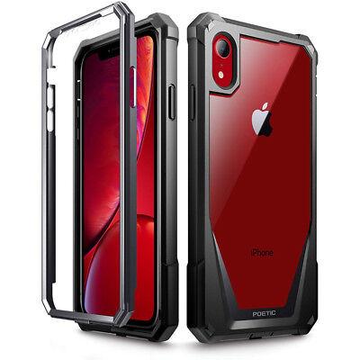 Apple iPhone XR Case | Poetic Full-Body Hybrid Bumper Protector Cover Black Black Full Body