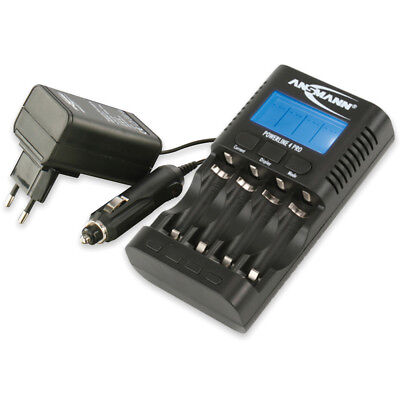 ANSMANN Ladegerät Powerline 4 Pro f. AAA AA USB Akkupflege Kapazitätsmessung etc