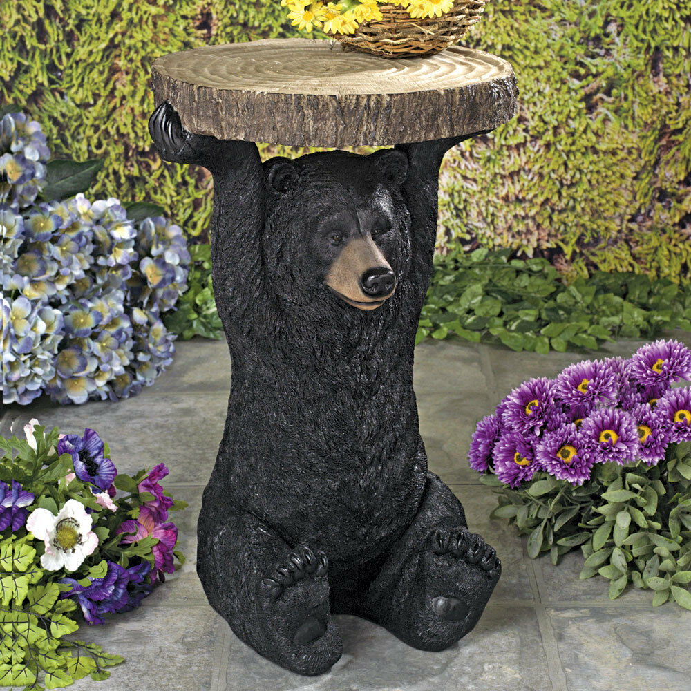 Black Bear Pedestal Side Table Decorative Indoor/Outdoor Hom