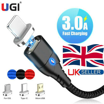 UK 3A Magnetic Type C Android Fast Charger Data Sync Charging Cord Phone Cable