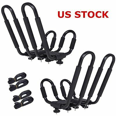 2 Pairs Kayak Carrier Boat SUV Canoe Surf Ski Snowboard Roof Mount Rack J-Bar