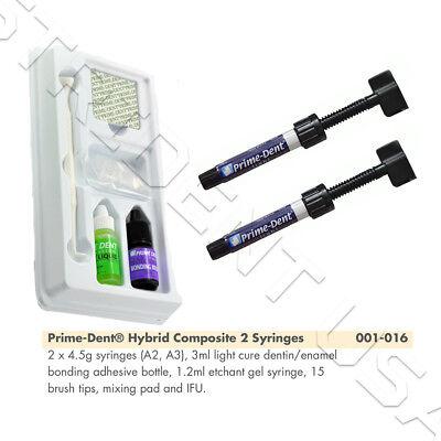 Prime Dent Light Cure Hybrid Composite Kit A2 A3 With Bonding Etch 001-016