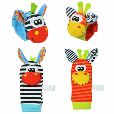 4pcs set Cute Animal Infant Baby Kid Hand Wrist Bell Foot Socks Rattles Soft Toy