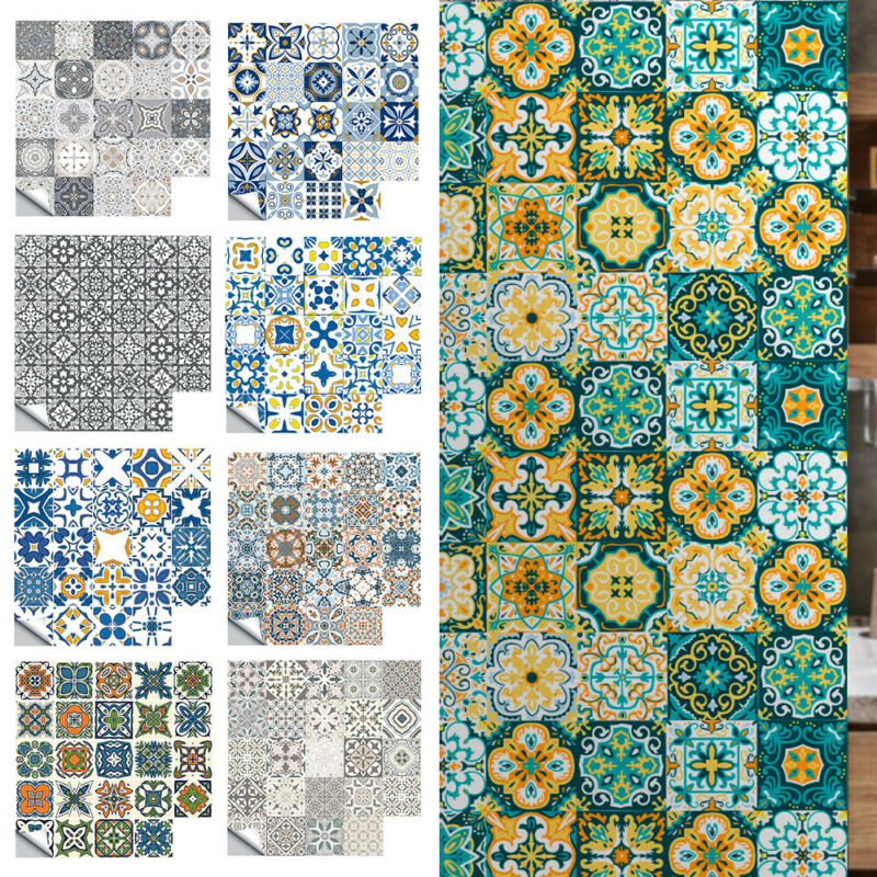 Home Decoration - 72PC Moroccan Style Tile Wall Stickers Kitchen Bathroom Self-Adhesive Home Decor