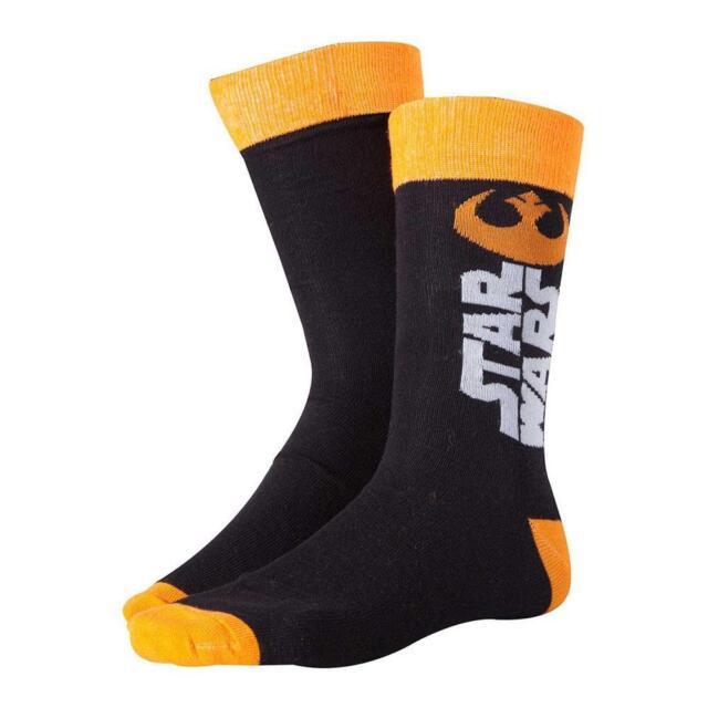 STAR WARS The Force Awakens Male Resistance Logo Crew Socks 43/46 Black/Orange