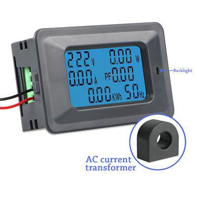 100a Ac Lcd Digital Panel Power Meter Monitor Voltage Voltmeter Ammeter -black