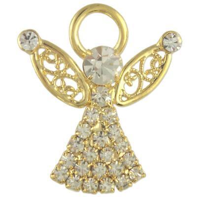 CUTE CLEAR CRYSTAL ANGEL CELESTIAL BROOCH PIN MADE WITH SWAROVSKI (Swarovski Crystal Angel Pin)