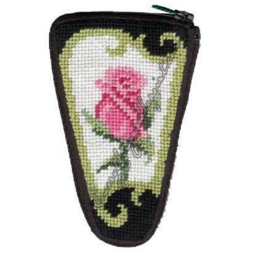 Stitch & Zip Needlepoint Scissor Case Kit - Pink Rose on Black