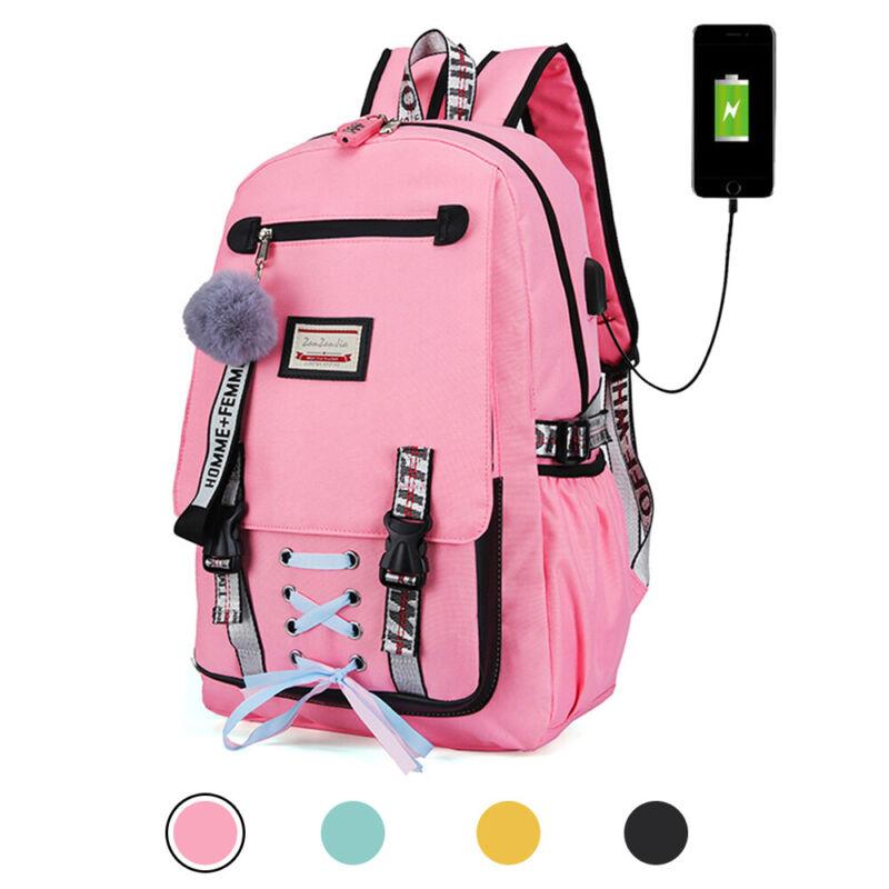 Women Canvas Backpack Girls School Bag Waterproof w/Anti Theft USB Port Bookbag