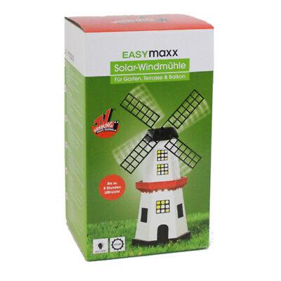 EASYmaxx Windmühle Solar m. LED Licht Garten Deko Leuchte Windmühlen Leuchtturm