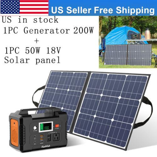 200W 40800mAh Portable Power Solar Generator With 50W 18V Solar Panel USB 18V DC