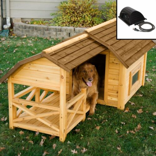 NEW HEATED Fir Wood Dog House For  Large Dog Extra Large with Porch