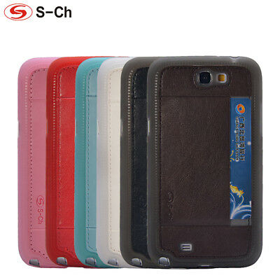Soft Silicone Skin Cover For Samsung Galaxy Note 2 N7100 Card Slot Phones Case  Note 2 Skin