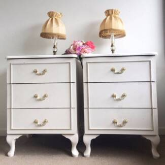 Vintage French Provincial Pair White Bedside Tables