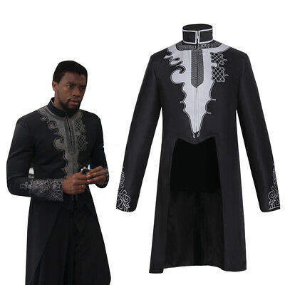 Black Panther Wakanda King T'Challa Jacket Coat Cosplay Costume Outfit Tailcoat  - Costume Tailcoat