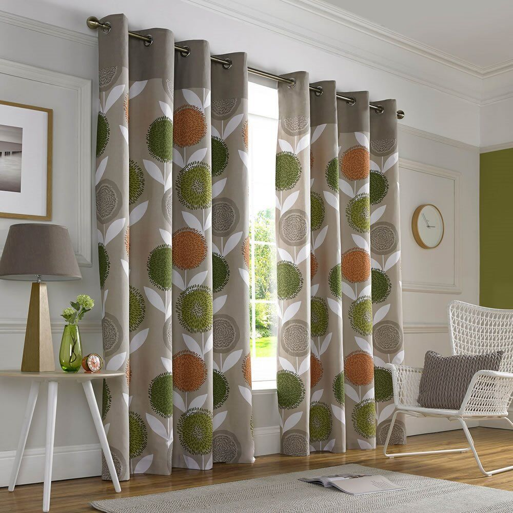 Floral Print Lined Eyelet Curtains Dandelion Design Taupe Green Orange 167x137cm In Whitley