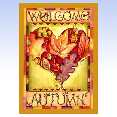 - TOLAND Home Garden AUTUMN WELCOME Fall Leaf Heart HOUSE FLAG 28