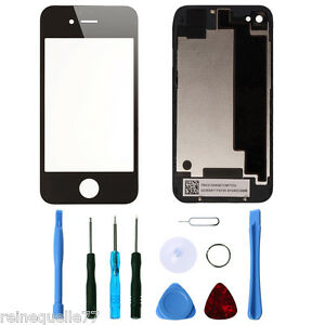 Back and Front Glass with Free Tool Kit Replacement Cover for iPhone 4S Black
