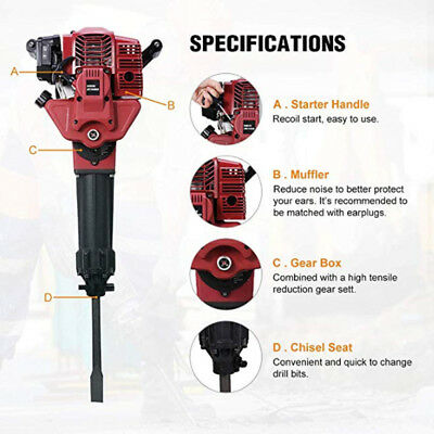 52cc Gasoline Demolition Jack Hammer Gas Breaker Jackhammer Punch Drill 1700w