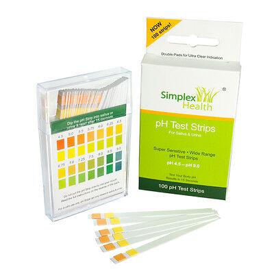 Alkaline pH Test Strips for Urine & Saliva (100 Strips per Pack) for Body pH